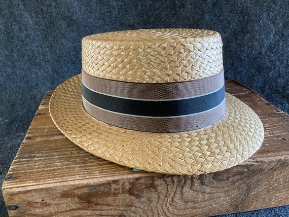 Dobbs Italy Straw Boater Hat 7 1/4