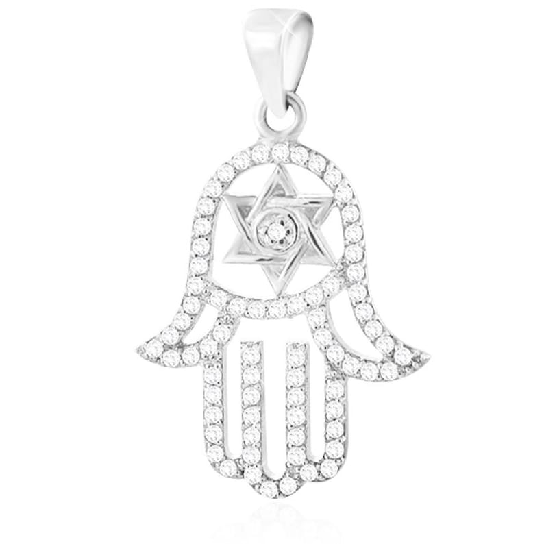925 Sterling Silver large Hamsa Pendant with Star Of David Set with white crystal Come/'s With 18 Silver Box Chain Free/&Fast DHL Shipping!