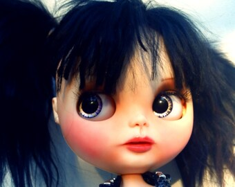 "Lucia, a Custom OOAK Blythe Doll by Sandra Coe (Custom #20) Art Doll 12"" Figure, Black Suri Alpaca Hair KMFDM Tribute"