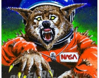 "Detroit Kaiju Space Werewolf Monster 5x7 Print ""Bulbozur vs Monokam"" Original Art by Pete Coe Redford Theatre B-Movie Double Feature"