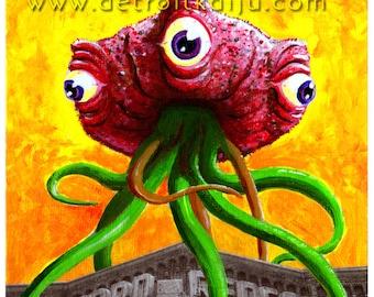 "Detroit Kaiju Tentacled Meat Monster 5x7 Print ""Bulbozur vs Monokam"" Original Art by Pete Coe Redford Theatre B-Movie Double Feature"