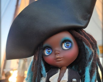 Custom OOAK Black Blythe Doll on Takara Love Mission EBL Base, Mermaid Pirate w/ Dreadlocks by Sandra Coe for Motor City Dolly