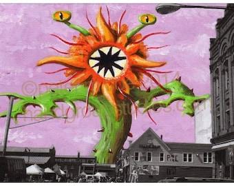 "Detroit Kaiju Death Flower Day at Eastern Market Monster 5x7 Print ""Shinohana"" Original Art Print by Pete Coe"