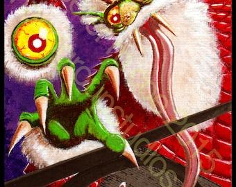 "Detroit Kaiju Santa Krampus Monster 5x7 Print ""Bahrumrah's Festive at the Tangent"" Original Art by Pete Coe"