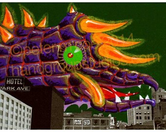 "Detroit Kaiju Monster Dragon 5x7 Print ""Kaijulia Checks In"" Original Art Print by Pete Coe"