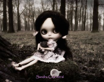 "Blythe Art Print ""Deirdre's Bad Day"" 12x18 Poster by Sandra Coe, Big Eye Doll Photography, Black and White Gloomy Goth Art"