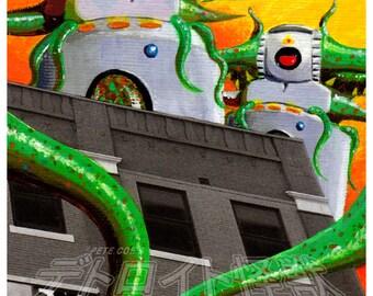 "Detroit Kaiju Robot Monster 5x7 Print ""Those DAM Farodolites"" Original Art by Pete Coe - Faro Tracker Artists Market Tentacles"