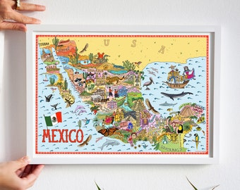 Mexico illustrated map print