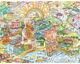 Swanage Illustrated Map Print (FREE DELIVERY!)
