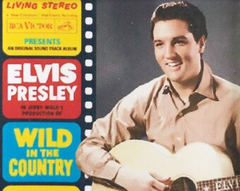 Elvis Presley Classic Iconic Album Covers poster Square Keyrings - New Wild In The Country