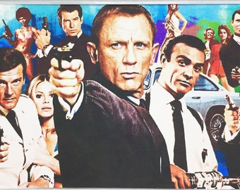 James Bond 007 movie poster Montage Fridge Magnets & Keyrings Sean Connery Daniel Craig Roger Moore - New