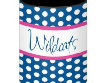 Personalized/Stylish/ Polka Dot Pattern/ Fits 12, 16 oz or long neck bottle