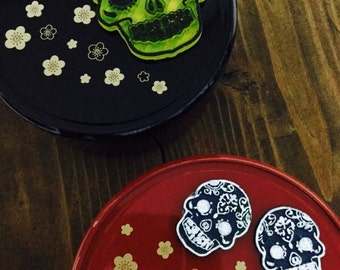 Price Reduced to Sell Clearance! Two Stackable Japanese Bento Boxes with Day of the Dead Sugar Skulls