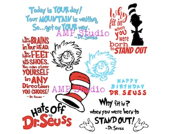 Dr. Seuss bundle Cat in the hat cut file svg bundle SVG, dxf, cut file, cameo, Cricut,  shirts for family/group events! Lots of extra words!
