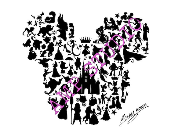 Disney Character Mickey Mouse Silhouette Svg Dxf Cut File
