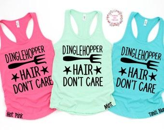 Dinglehopper Hair Don't Care Little Mermaid Tank Top Women's Shirt OOTD Vacation Shirt