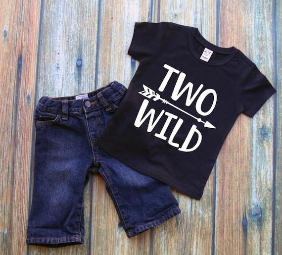 Two Wild Toddler Tshirt 2nd Birthday Shirt Boy Clothing