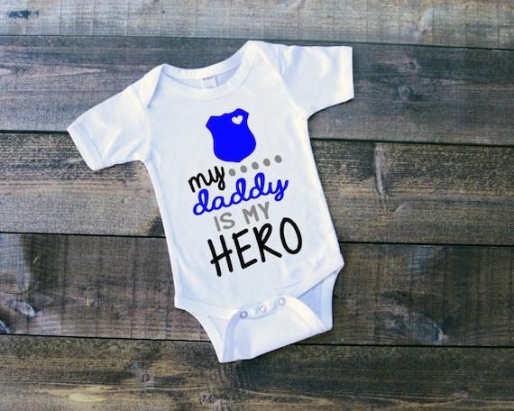 My Daddy Is My Hero Police Officer Tshirt Baby Boy Clothing Etsy