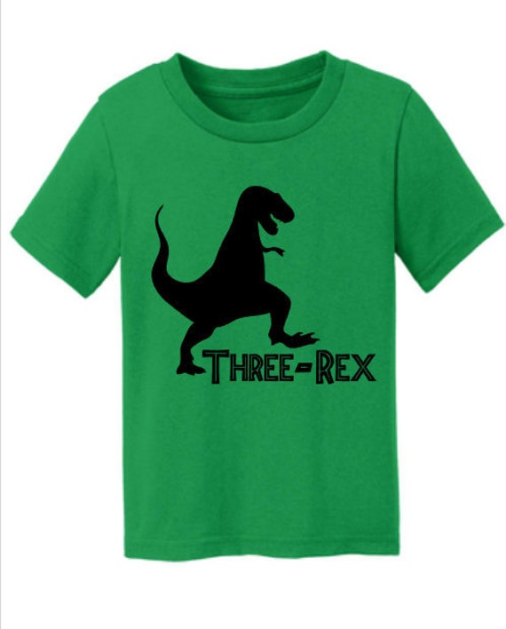 Dinosaur Three Rex Toddler Tshirt 3rd Birthday Shirt Boy