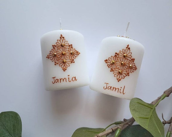 2 X Henna Candles Couple Candles Etsy