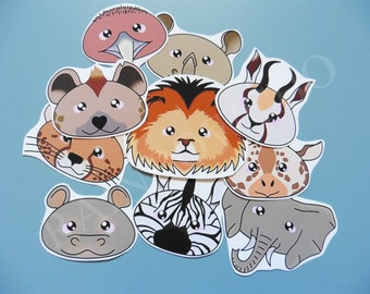 """10 stickers """"African animal heads"""""""