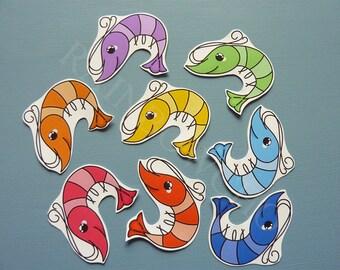 "8 stickers ""Rainbow shrimp"""