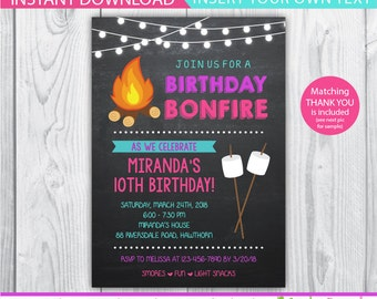 Camp Invitation Bonfire Party Invitations Smores Birthday INSTANT DOWNLOAD