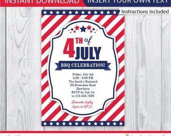 4th of july invitation 4th of july invite patriotic etsy
