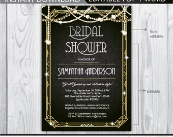 Gatsby bridal shower etsy 1920s bridal shower invitation art deco birthday invitation great gatsby bridal shower invitation great gatsby invitation gold elegant filmwisefo