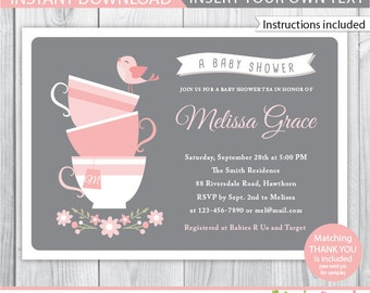 baby shower tea party invitation / tea baby shower invitation / baby shower tea invitation / high tea baby shower invitation / Afternoon tea