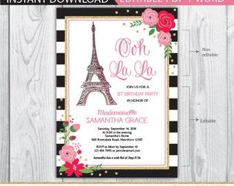 paris birthday invitation, paris invitation, eiffel tower invitations, french birthday invitation, ooh la la invitation, paris birthday