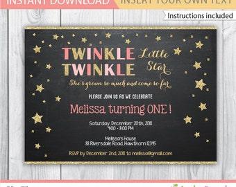 Twinkle Twinkle Little Star Birthday Invitation / twinkle twinkle invitation / twinkle star invitation / twinkle twinkle birthday / INSTANT