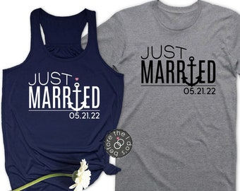 b2416cf6 Nautical Just Married {with Date} Flowy Racerback Tank and T-Shirt Set ///  Honeymoon Shirts, Just Married Shirts, Mr. and Mrs. | #2123-TKT