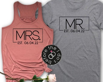 92d6f82b6 Mr. and Mrs. {with Est. Date} Flowy Racerback Tank and T-Shirt Set ///  Honeymoon Shirts, Just Married Shirts, Couples Shirts | #1495
