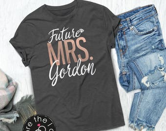 Future Mrs./Last Name Relaxed Boyfriend Fit Tee /// Bride Shirt, Wife Shirt, Bridal Shower, Engaged Shirt | #1527