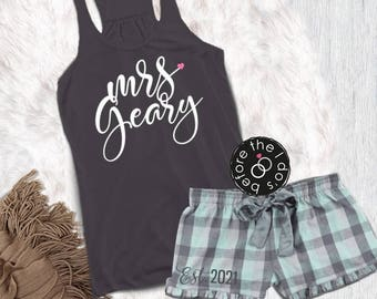 7dcc724a00 Personalized Mrs. Pajama Set with Flowy Tank and Flannel Boxer