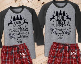 Our First Christmas as Mr. and Mrs. {with Mr/Mrs on Pant} Couple's Pajama Set /// Wedding Pajamas, Honeymoon, Christmas Pajamas   #1580