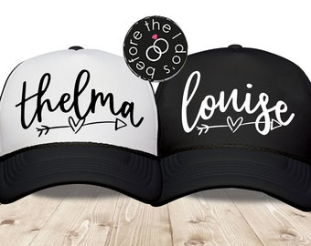 5c134984 Thelma and Louise {with Arrow/Heart} Trucker Hat Set /// Best Friend Hat,  Halloween Party, Best Friend Gift, Vacation Hat   #2103-TH