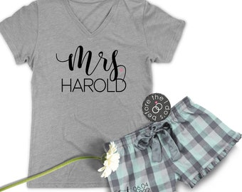 7068b90616 Personalized Mrs.  with Est. Date on Boxer  Relaxed V-Neck Tee and Cotton  Flannel Boxer Set     Bride Pajamas