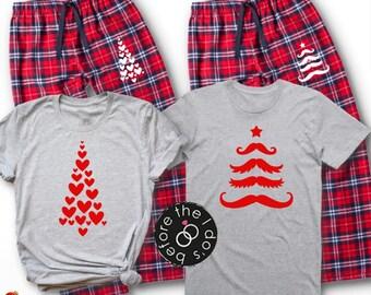 7be8c47fb8 Christmas Trees Couple's Pajama Set /// Christmas Pajamas, Honeymoon, His  and Her Pajamas, Mr and Mrs Pajamas | #1908-1605