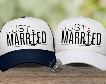 9932ee02d76b5 Nautical Just Married Couple s Trucker Hat Set     Couples Hats