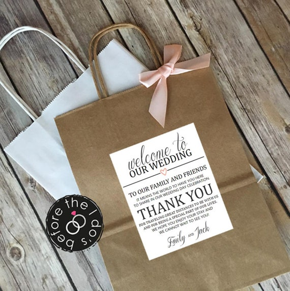 Personalized Welcome To Our Wedding Thank You Etsy