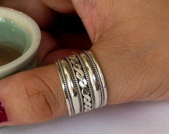 Sterling Silver Rings for Women , Sterling Silver Wide Band Ring, Sterling Silver Ring, Silver Boho Ring, Celtic Braid Ring, R04678