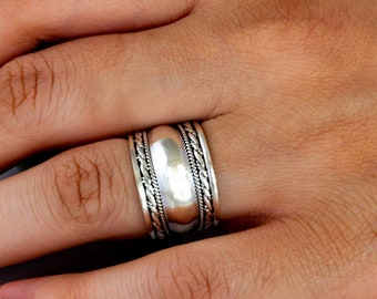 Sterling Silver Rings for Women, Slightly Domed with Braid and Rope Edges, Sterling Silver Ring R1028