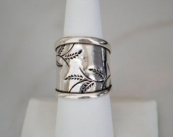 Sterling Silver Ring, Sterling Silver Ring for Women, Sterling Silver Cuff Ring, Wide band Ring,  Adjustable Sterling Silver Ring Boho Style