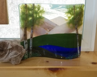 Fused Glass Mountain Lake Landscape with Driftwood Display
