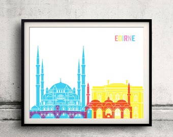 Edirne pop art skyline - Fine Art Print Glicee Poster Decor Home Gift Illustration Wall Art Pop Art Colorful Landmarks - SKU 2718