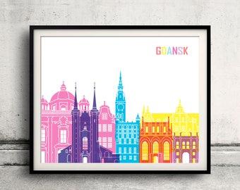 Gdansk pop art skyline - Fine Art Print Glicee Poster Decor Home Gift Illustration Wall Art Pop Art Colorful Landmarks - SKU 2721