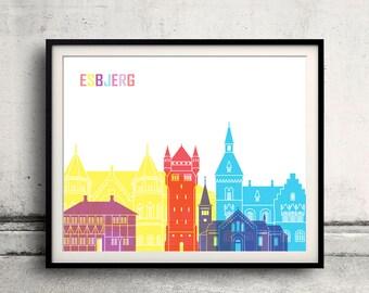 Esbjerg pop art skyline - Fine Art Print Glicee Poster Decor Home Gift Illustration Wall Art Pop Art Colorful Landmarks - SKU 2719