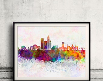Los Angeles skyline in watercolor background - Fine Art Print Glicee Poster Gift Illustration Colorful - SKU 2119